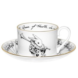 Alice in Wonderland White Rabbit with cards Teacup and Saucer