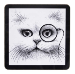 Cat Monocle set van 4 - Vierkante Placemats