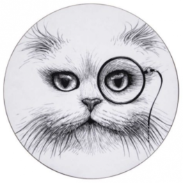 Cat Monocle set van 4 - Ronde Placemats