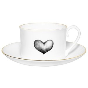 Black Love Heart Tea Cup and Saucer